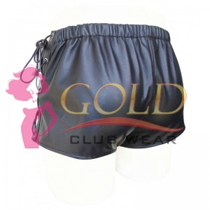 BLACK LEATHER SHORTS WITH LACE UP SIDE