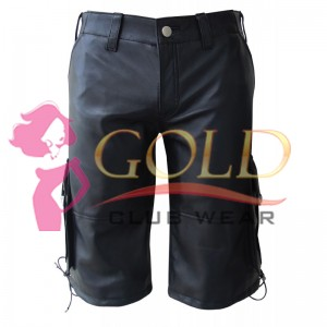 BLACK LEATHER SHORTS WITH SIX POCKETS