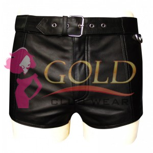 BLACK LEATHER SHORTS WITH FULL LACE BACK