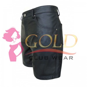 BLACK LEATHER SHORTS WITH FIVE POCKETS
