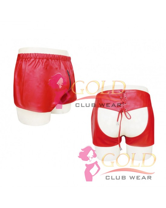 RED LEATHER SNAP SIDE BOXER SHORTS