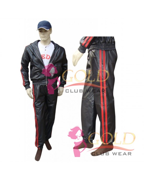 LEATHER TRACKSUIT WITH RED STRIPES