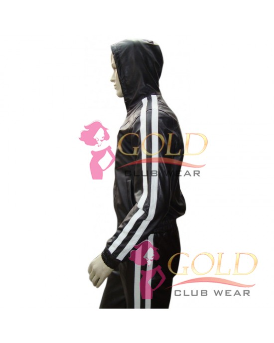LEATHER TRACKSUIT WITH WHITE STRIPES