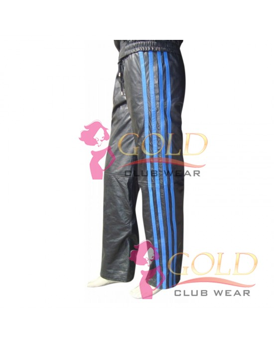 LEATHER TRACKSUIT WITH BLUE STRIPES