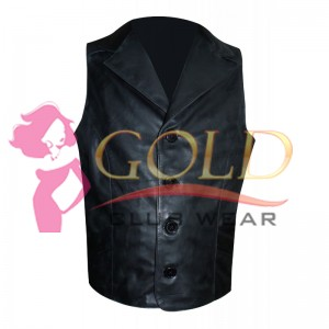 LEATHER VEST WITH POCKETS & BUTTONS