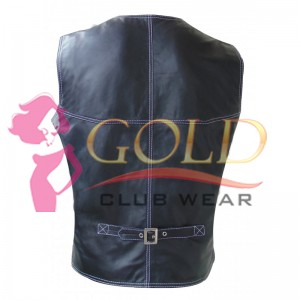 LEATHER VEST COAT HUNTER STYLE WITH COLOR STITCHING