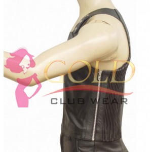 LEATHER VEST WITH ADJUSTABLE BUTTONS