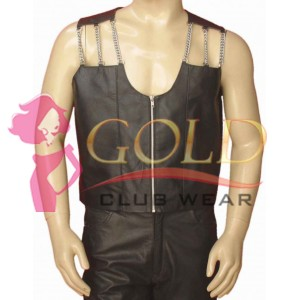 LEATHER VEST WITH CHAIN