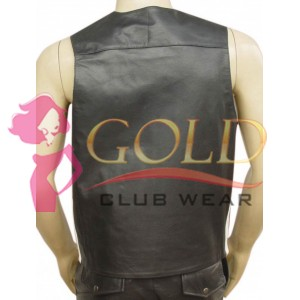 LEATHER VEST WITH WHITE STRIPE