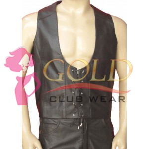 LEATHER VEST WITH LACE-UP STYLE
