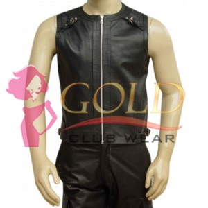 LEATHER VEST WITH SHOULDER STRIPE WITH BUCKLE