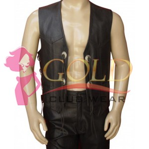 LEATHER VEST WITH SIDE & FRONT LACE