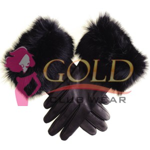 Ladies' Black Leather Gloves with Fur Cuff