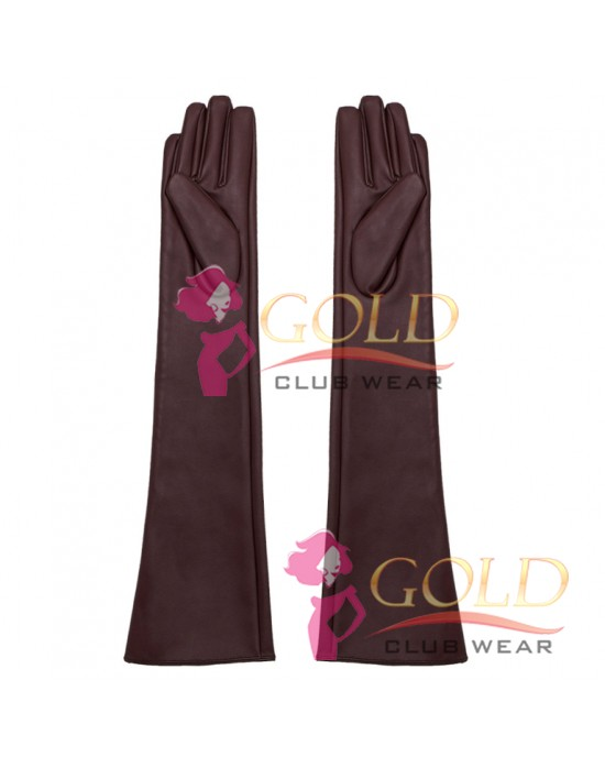 Burgundy Long Leather Gloves