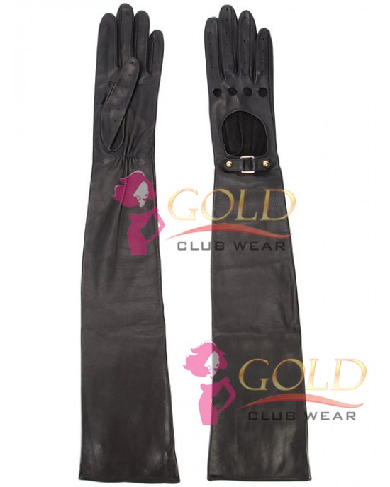 Black Leather Long Sleeve Gloves
