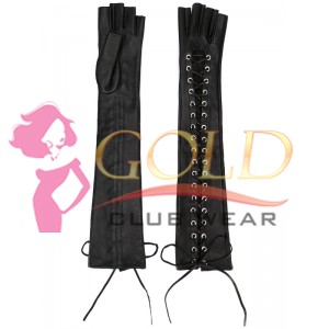 Black Leather Long Laced Gloves