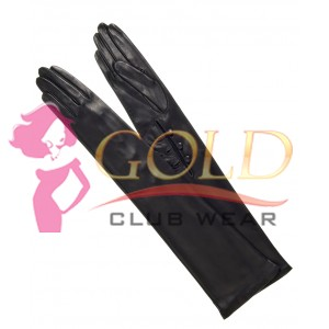 Black Long Leather Gloves with Buttons