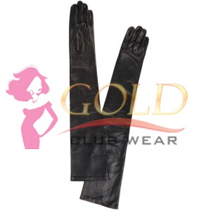 Glamour Long Black Leather Gloves