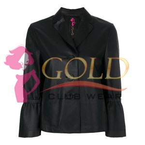 Black Lambskin Button Up Fitted Jacket