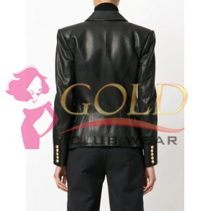 Black Leather Double Breasted Leather Blazer