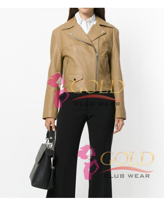 Sandy Beach Lamb Skin Leather Cropped Biker Jacket