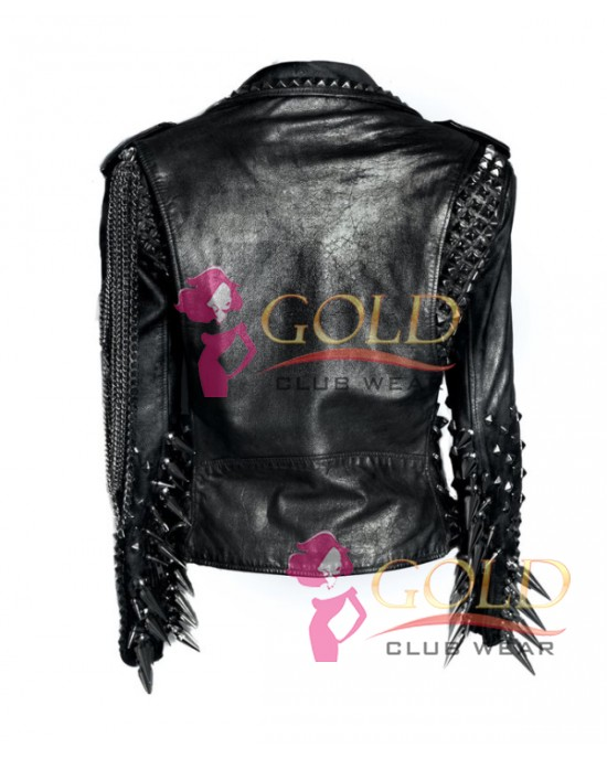 Black Leather Spiked Club Jacket
