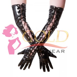 PVC Laced Front Long Gloves