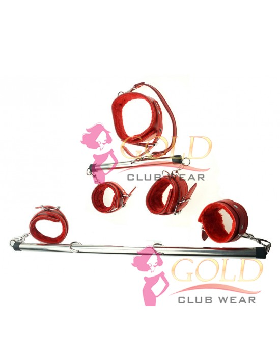 Stainless Steel Spreader Bar With Red Collar + Cuffs And Ankle