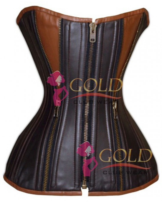 Black & Brown Leather Corset with Zip