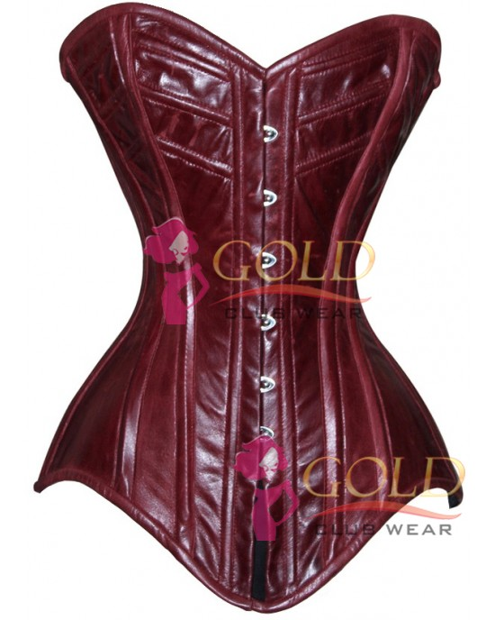 Burgundy Real Leather Corset