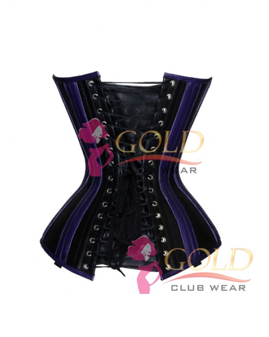 Blue & Black Leather Corset Tight Lacing Bustier