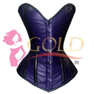 Blue & Black Real Leather Corset