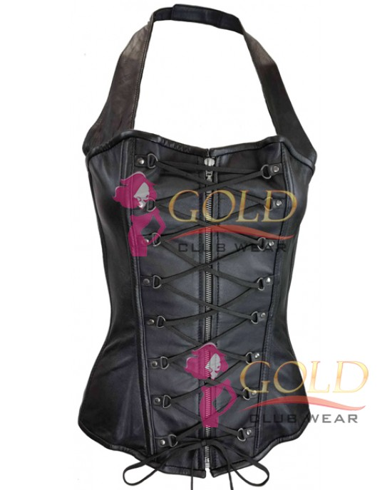 LEATHER LADIES HALTER TOP CORSET WITH ZIPPER AND LACES