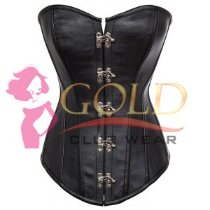Black Leather Corset With Clasps Lock