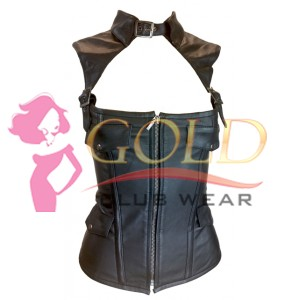 Zip Front Soft Leather Corset with Removable Collar