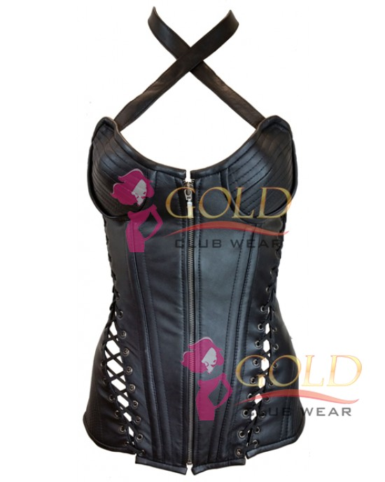 Leather Corset With Ribbed Cups