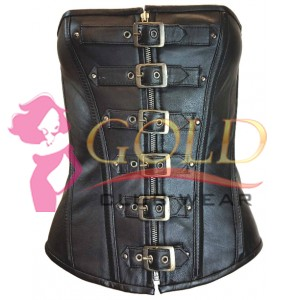 6 BUCKLE Leather CORSET WITH ZIP