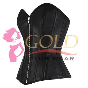 Leather Corset With Nickle Brass Zip