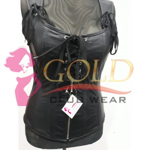 Boning Leather Corset with Laces & Zip