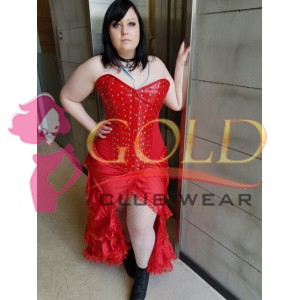 High Quality Red LEATHER CORSET with studded