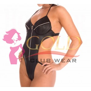 Leather Backless Teddy With Zip